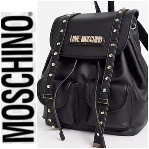 LOVE MOCHINO Backpack Black Gold Studded NWT